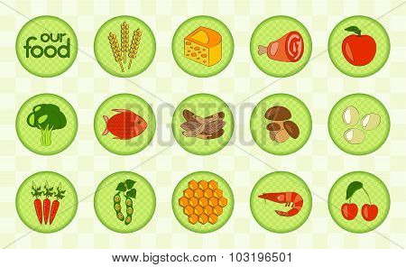 Colorful food set. Checked design. Vector illustration.