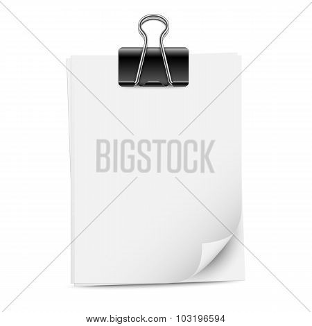 Paper Sheets With Binder Clip, Vector Illustration