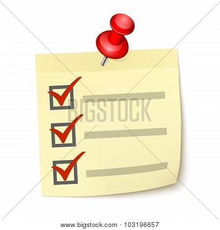 Yellow Sticky Note Paper With Checklist