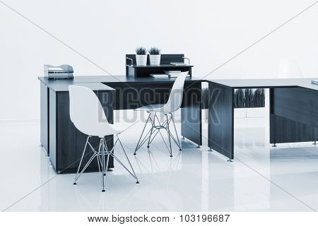 desks and chairs with reflection on white background