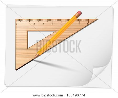 Wooden Rulers With Pencil. Vector