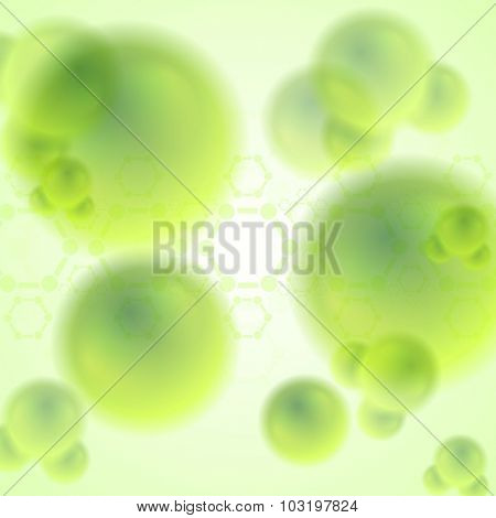 Green abstract molecules biology background. Vector design