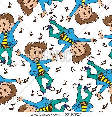 boy dancing seamless pattern