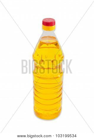 Bottle Of Unrefined Sunflower Oil On A Light Background