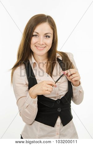 Portrait Of Business Girl With Pen In Hand