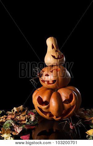 Stack of spooky pumpkin halloween