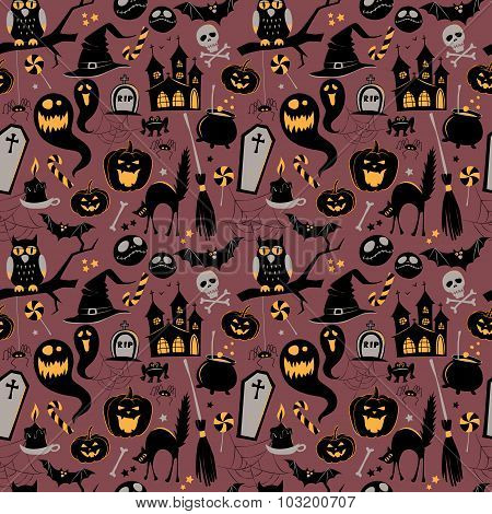 Seamless pattern Of Vintage Happy Halloween flat  icons. Hallowe