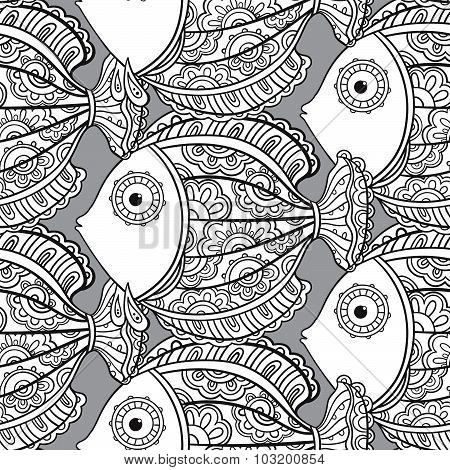 Seamless Pattern With Ornate Fishes.