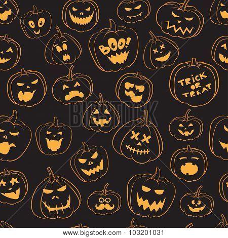 Seamless pattern Of Vintage Happy Halloween pumpkins. Halloween