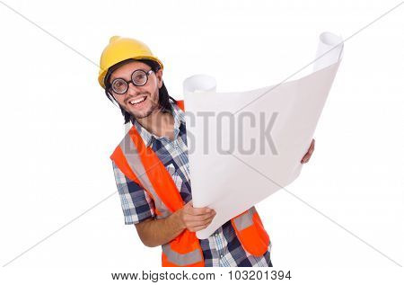 Funny engineer isolated on the white white