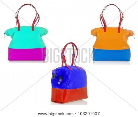 Set of woman bags isolated on white