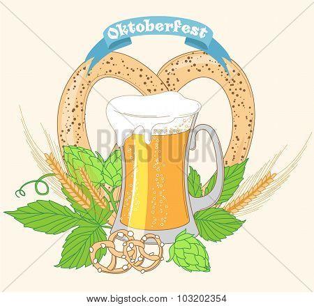 Vintage poster or greeting card for Oktoberfest Beer festival ce