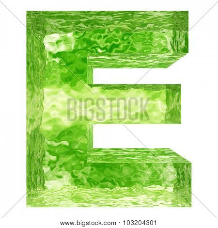 High resolution concept conceptual 3D green water or ice font part of set or collection isolated on white background for winter
