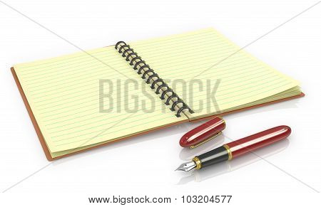 Notepad With Fountain Pen On A White Background.