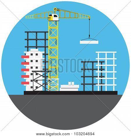 Colorful building crane