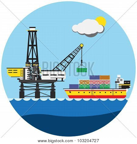 Colorful picture of building crane with ship