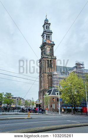 Amsterdam, Netherlands - May 6, 2015: People At Westerkerk (western Church) In Amsterdam