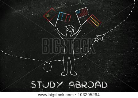 Study Abroad, Person With Mixed Flags And Airplane