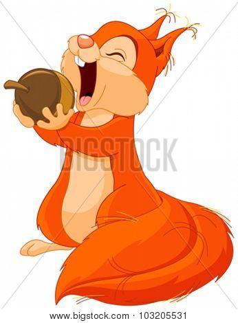 Illustration of cute squirrel eats nut