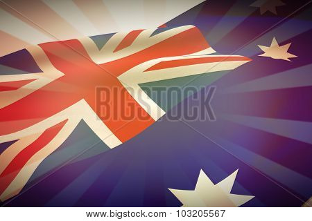 Low angle view of Australian flag against linear background