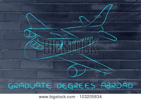 Study For A Graduate Degree Abroad: Airplane With Graduation Cap