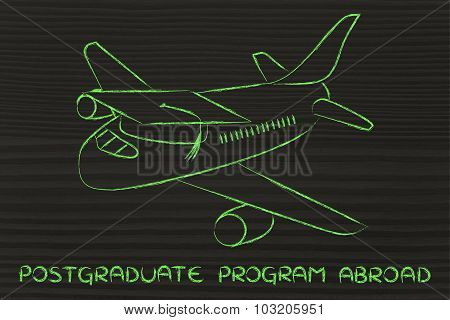 Study For A Postgraduate Degree Abroad: Airplane With Graduation Cap