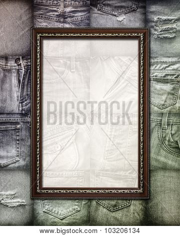Vintage Picture Frame On Collage Jeans