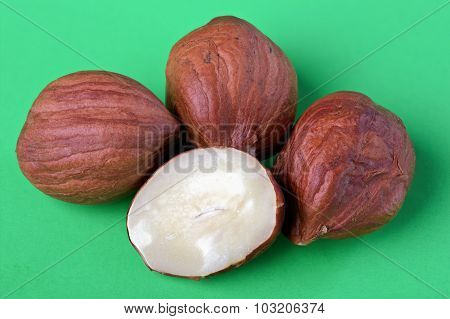 Hazelnuts In A Wooden Bowl,close-up