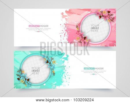 Beautiful flowers decorated creative website header or banner set with space for your images.