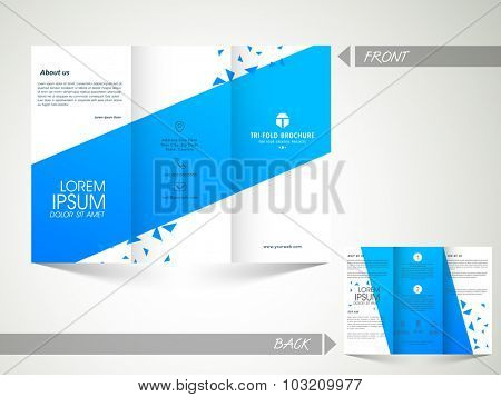 Creative Trifold Brochure, Template or Flyer design with front and back side presentation.
