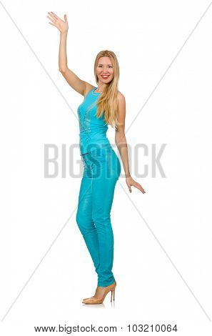 Beautiful girl in blue clothing isolated on white