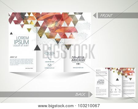 Creative abstract Trifold Brochure, Template or Flyer design with front and inner page presentation for your Business.