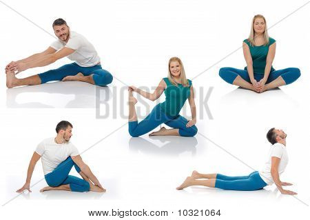 Group Of Photos Of  Active Man And Woman Doing Yoga Fitness Poses. Isolated On White Background