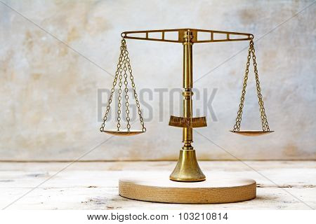 Vintage Balance Scales Of Justice Made Of Brass