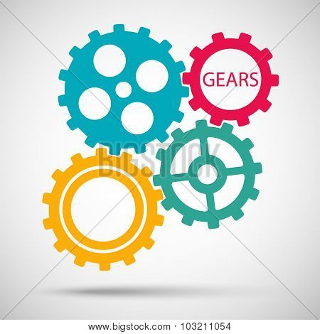 color toothed gears (cogs) is meshed on gray background. vector illustration eps10