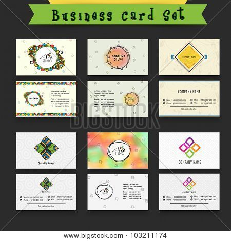 Creative set of Business cards, Name cards or Visiting cards with front and back side presentation.