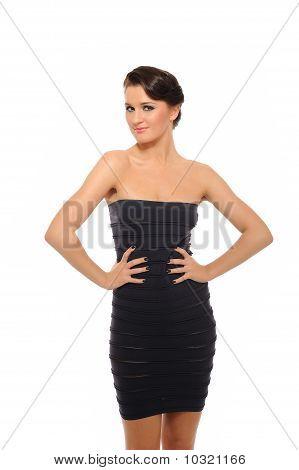 Beautiful Sexy Woman In Short Elegant Dress Smiling