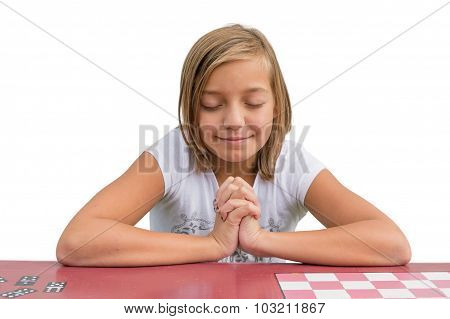 Young Cute Child Girl Pray At Red Desk In Sunday School Praying An Having Devotional