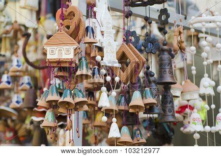 Souvenir bells at the market