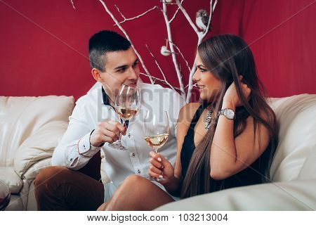 Young Romantic Couple In The Living Room