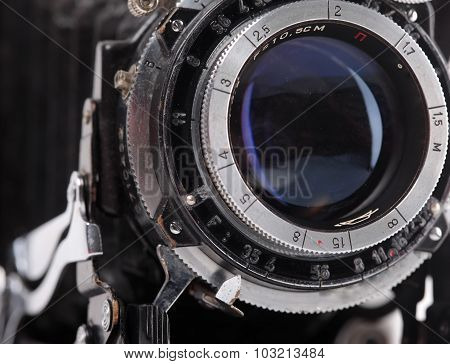 Vintage photo camera lens closeup