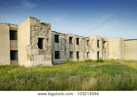 Old destroyed building without people