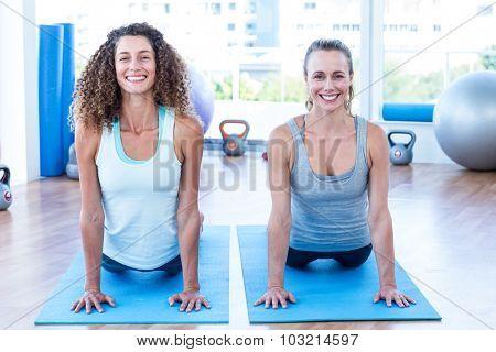 Portrait of cheerful women doing cobra pose in fitness studio