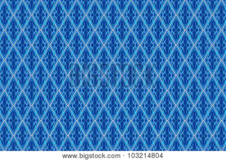 Abstract Vintage Pattern In Seamless Style On Blue Diamond Shaped Quadangle