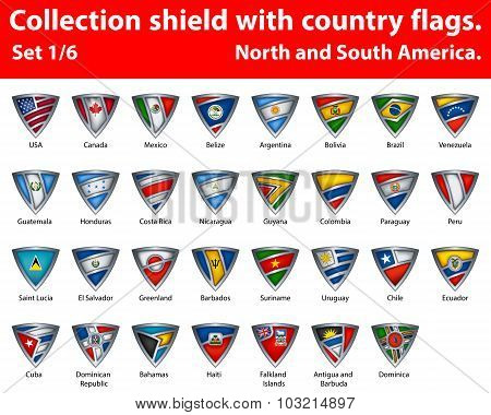 Collection shield with country flags. Part 1 of 6