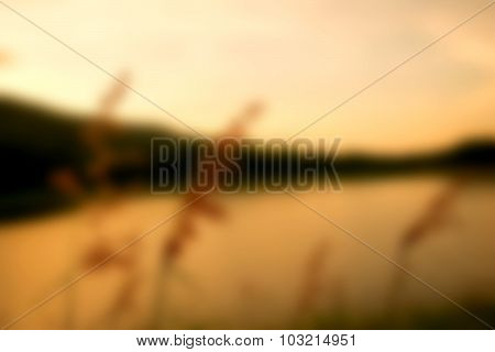 River and Mountain - Blur orange color abstract background