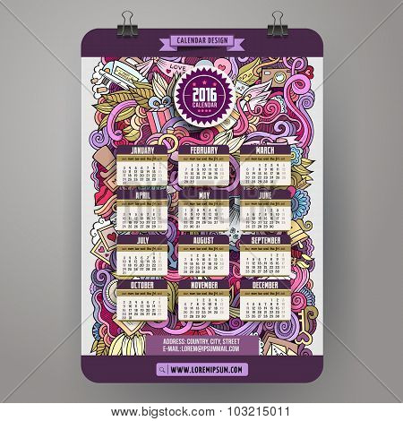 Doodles hand drawn colorful cartoon Wedding Calendar 2016