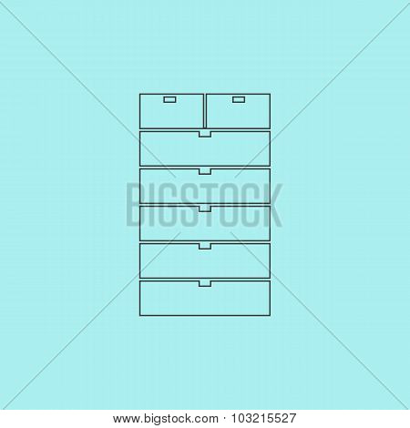 Drawer icon, sign and button