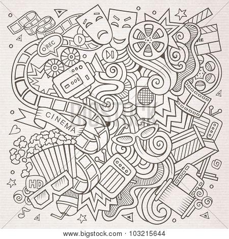 Cartoon vector hand-drawn Cinema Doodle. Sketchy design