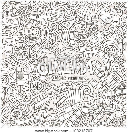Cartoon vector hand-drawn Cinema Doodle frame. Sketchy design